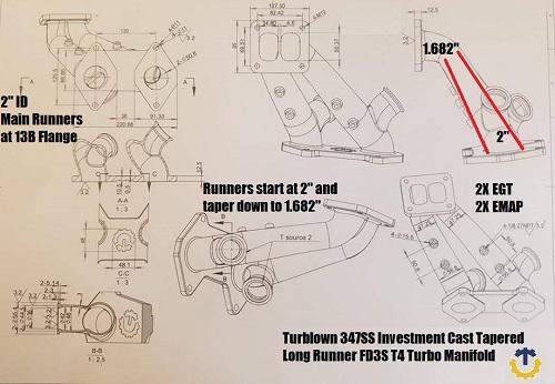 Turblown Twinscroll Cast FD3S Rx7 Single Turbo Manifold